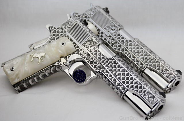 Sand Engraved Colt 1911 Custom Consecutive Pair Snakeskin Pattern