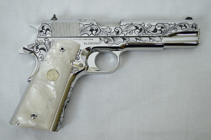 Right Side of Engraved Colt Custom 1911 .38 Super