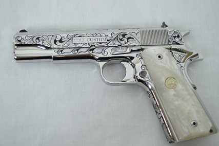 Left Side of Engraved Colt Custom 1911 .38 Super