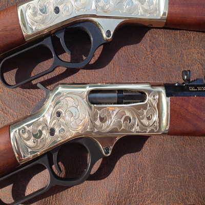 Right Side of Engraved Henry Rifle 30-30